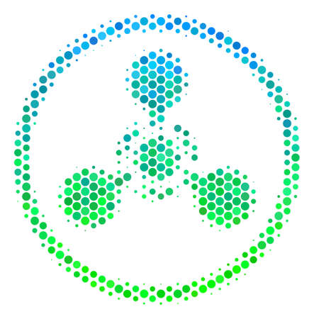 Halftone round spot WMD Nerve Agent Chemical Warfare icon. Icon in green and blue color tones on a white background. Vector pattern of wmd nerve agent chemical warfare icon created of round elements.