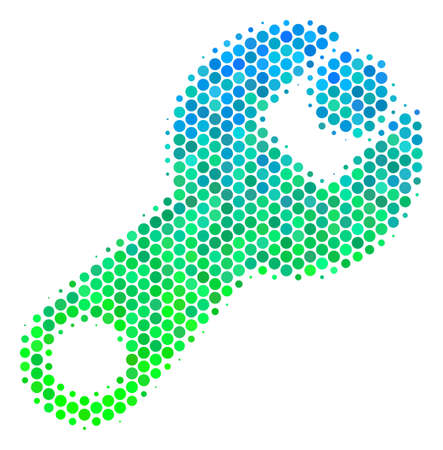 Halftone round spot Wrench icon. Icon in green and blue color hues on a white background. Vector collage of wrench icon composed of sphere items.