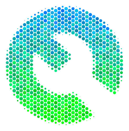 Halftone round spot Wrench pictogram. Icon in green and blue color tones on a white background. Vector pattern of wrench icon combined of circle pixels.