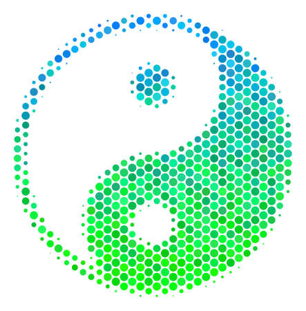 Halftone circle Yin Yang pictogram. Pictogram in green and blue color hues on a white background. Vector collage of yin yang icon created of sphere blots. Vettoriali
