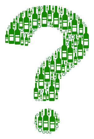 Question mosaic of alcohol bottles and round bubbles in variable sizes and green colors. Vector objects are formed into question composition. Wine vector illustration.