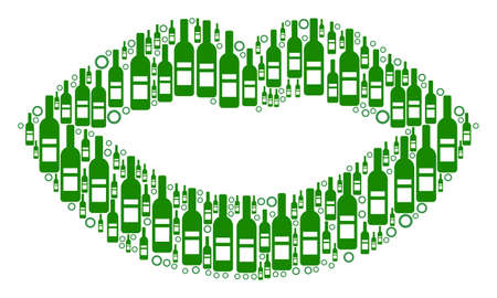 Sexy Lips collage of alcohol bottles and round bubbles in various sizes and green colors. Vector objects are united into sexy lips mosaic. Bottle vector illustration.