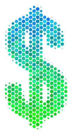 Halftone dot Dollar pictogram. Icon in green and blue shades on a white background. Vector composition of dollar icon created of round blots.