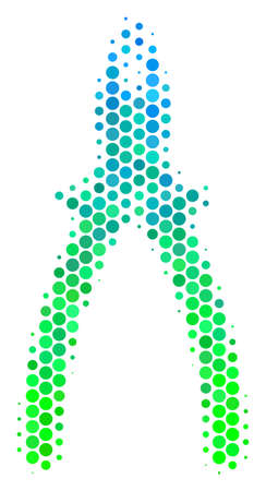 Halftone round spot Pliers icon. Pictogram in green and blue color tones on a white background. Vector composition of pliers icon combined of sphere pixels. Ilustrace
