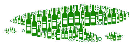Puddle collage of alcohol bottles and round bubbles in variable sizes and green colors. Vector objects are formed into puddle mosaic. Wine vector illustration. Vectores