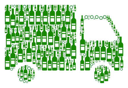 Shipment Van composition of wine bottles and circle particles in different sizes and green colors. Vector items are united into shipment van collage. Bottle vector illustration.