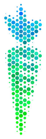 Halftone circle Carrot icon. Pictogram in green and blue color tones on a white background. Vector concept of carrot icon organized of round dots. Illustration