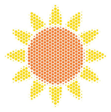 Halftone hexagon Sun icon. Pictogram on a white background. Vector collage of sun icon designed of hexagon blots.  イラスト・ベクター素材