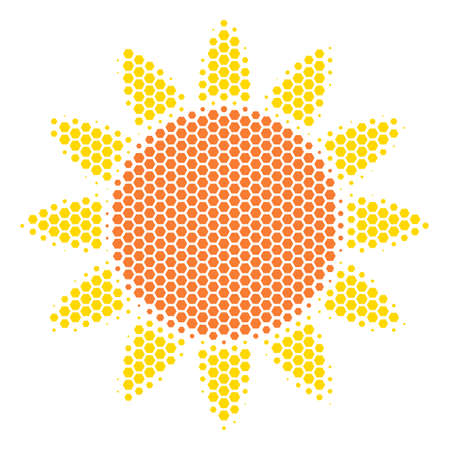 Halftone hexagon Sun icon. Pictogram on a white background. Vector collage of sun icon designed of hexagon blots. Vettoriali
