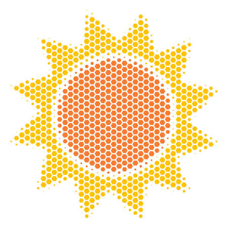 Halftone hexagonal Sun icon. Pictogram on a white background. Vector collage of sun icon composed of hexagon dots. Vettoriali
