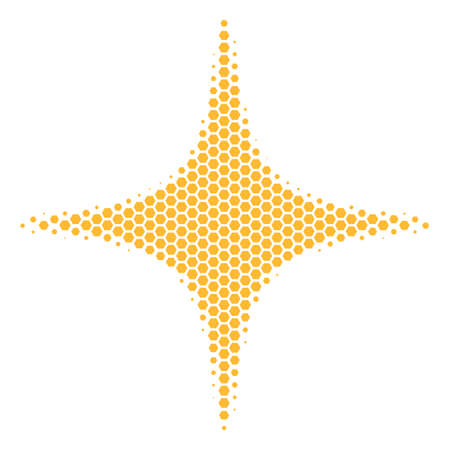 Halftone hexagonal Space Star icon. Pictogram on a white background. Vector pattern of space star icon combined of hexagon pixels. Çizim