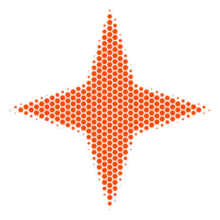 Halftone hexagon Space Star icon. Pictogram on a white background. Vector collage of space star icon done of hexagon pixels. Illustration