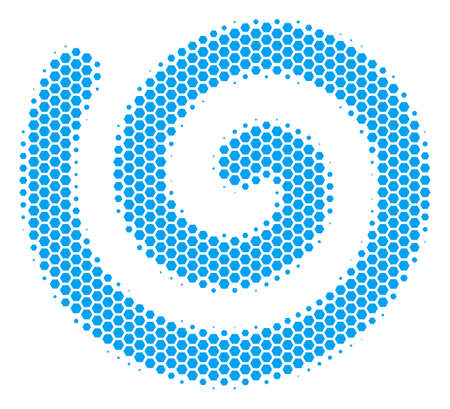 Halftone hexagon Spiral icon. Pictogram on a white background. Vector mosaic of spiral icon designed of hexagonal blots. Ilustração