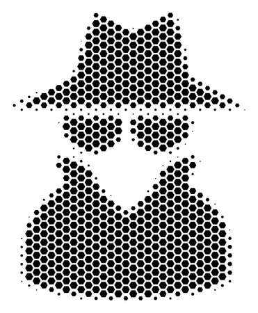 Halftone hexagon Spy icon. Pictogram on a white background. Vector concept of spy icon combined of hexagon blots.