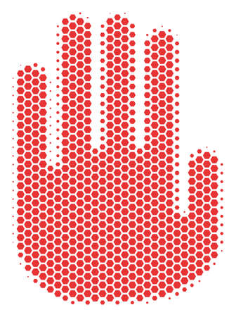 Halftone hexagon Stop Hand icon. Pictogram on a white background. Vector mosaic of stop hand icon designed of hexagonal spots. Illustration