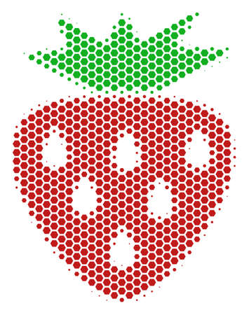 Halftone hexagon Strawberry icon. Pictogram on a white background. Vector collage of strawberry icon made of hexagon items.  イラスト・ベクター素材