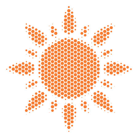 Halftone hexagon Sun icon. Pictogram on a white background. Vector collage of sun icon composed of hexagon items.