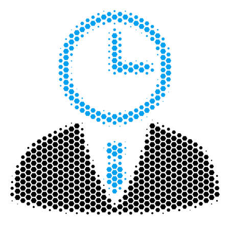 Halftone hexagonal Time Manager icon. Pictogram on a white background. Vector mosaic of time manager icon created of hexagon items.