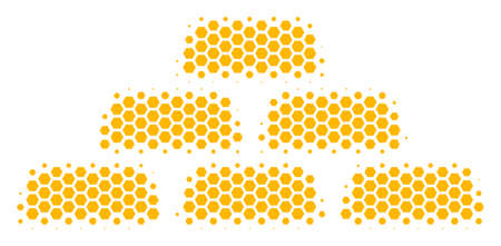 Halftone hexagon Treasure Bricks icon. Pictogram on a white background. Vector mosaic of treasure bricks icon composed of hexagonal pixels. Illustration