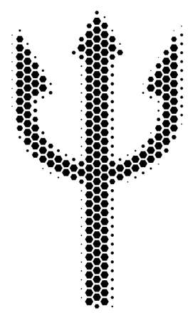 Halftone hexagonal Trident Fork icon. Pictogram on a white background. Vector mosaic of trident fork icon made of hexagonal spots.