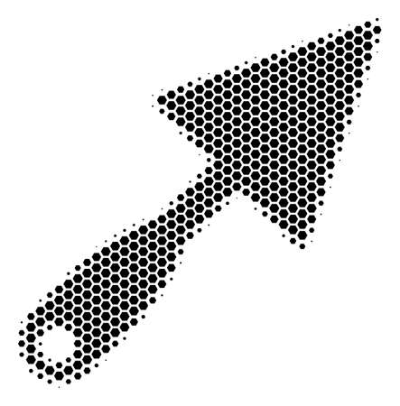 Halftone hexagon Trowel icon. Pictogram on a white background. Vector mosaic of trowel icon composed of hexagon pixels.