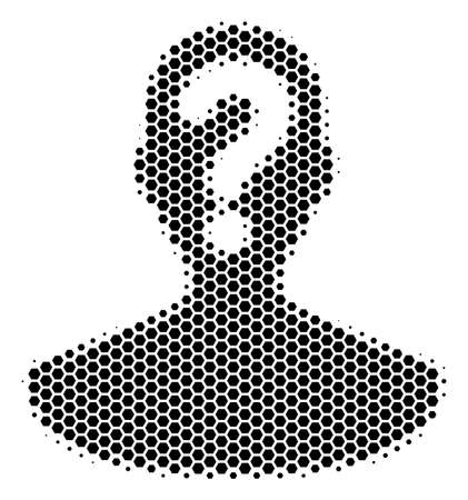 Halbton-Sechseck Symbol für unbekannte Person. Piktogramm auf weißem Hintergrund. Vektorkonzept des Symbols der unbekannten Person, das von sechseckigen Elementen erstellt wird.