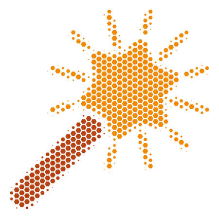 Halftone hexagonal Wand Magic Tool icon. Pictogram on a white background. Vector mosaic of wand magic tool icon done of hexagonal blots.