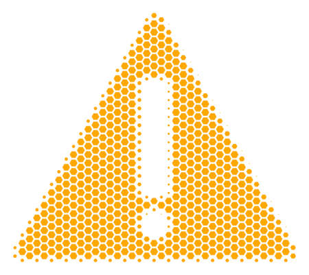 Halftone hexagon Warning icon. Pictogram on a white background. Vector mosaic of warning icon created of hexagon elements.