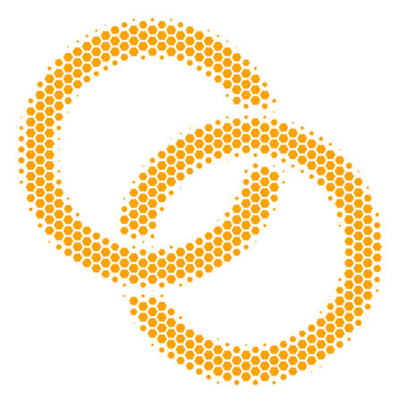 Halftone hexagon Wedding Rings icon. Pictogram on a white background. Vector mosaic of wedding rings icon composed of hexagon elements.