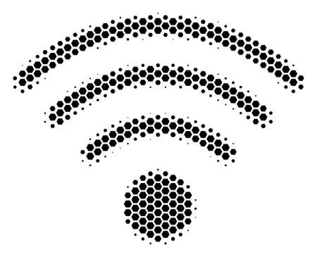 Halftone hexagon Wi-Fi Source icon. Pictogram on a white background. Vector pattern of wi-fi source icon done of hexagonal blots.