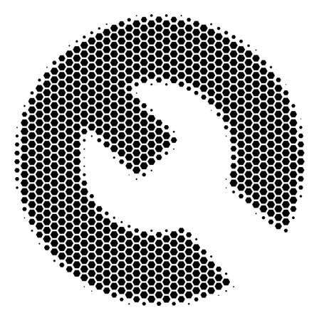 Halftone hexagon Wrench icon. Pictogram on a white background. Vector composition of wrench icon composed of hexagonal spots. Ilustrace