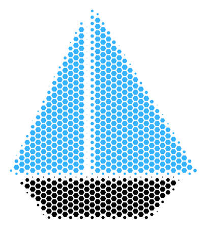 Halftone hexagon Yacht icon. Pictogram on a white background. Vector mosaic of yacht icon made of hexagon pixels.