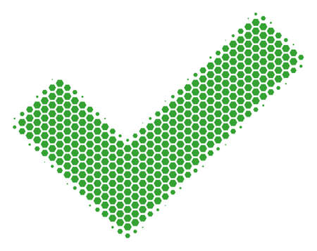 Halftone hexagonal Yes icon. Pictogram on a white background. Vector collage of yes icon done of hexagonal blots.