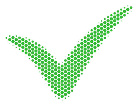 Halftone hexagon Yes icon. Pictogram on a white background. Vector concept of yes icon made of hexagon elements. Illustration