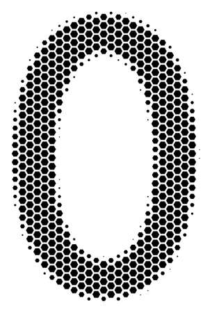 Halftone hexagon zero digit icon. Pictogram on a white background. Vector mosaic of zero digit icon created of hexagonal blots. Иллюстрация