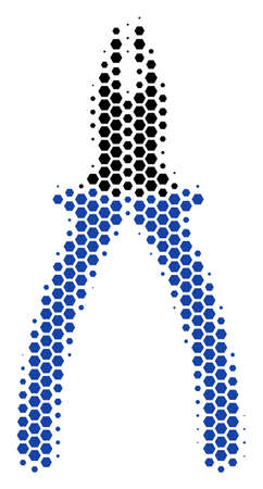 Halftone hexagon Pliers icon. Pictogram on a white background. Vector pattern of pliers icon designed of hexagon blots.