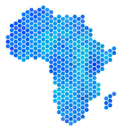 Hexagon Blue Africa Map. Raster geographic map in cold color hues on a white background. Blue raster mosaic of Africa Map designed of hexagonal spots.