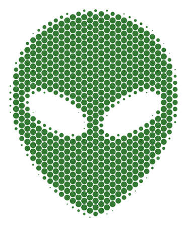 Halftone round spot Alien Face icon. Pictogram on a white background. Raster pattern of alien face icon constructed of spheric pixels.