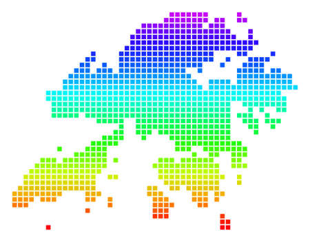 Bright Rainbow Dot Hong Kong Map. Vector geographic map in bright spectrum colors with vertical gradient. Colorful vector concept of Hong Kong Map designed of rounded rectangle cells. 일러스트