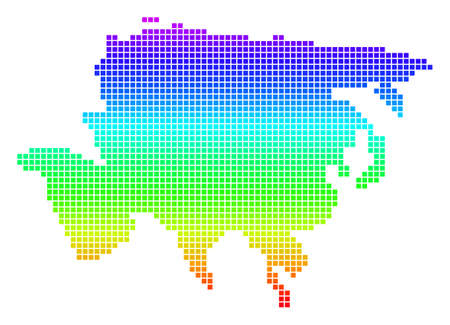 Bright Spectral Dotted Asia Map. Vector geographic map in bright spectrum colors with vertical gradient. Multicolored vector composition of Asia Map constructed of rounded rectangle particles.