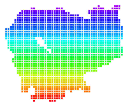 Bright Spectral Pixel Cambodia Map. Vector geographic map in bright spectrum colors with vertical gradient. Bright vector collage of Cambodia Map composed of rounded rectangle dots. Illustration