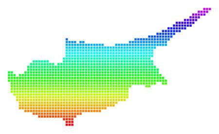Colored Spectrum Dot Cyprus Island Map. Иллюстрация