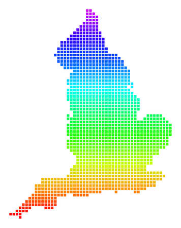 Colored Spectral Pixel England Map.