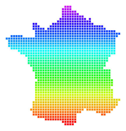 Colored Spectral Pixel France Map. Çizim