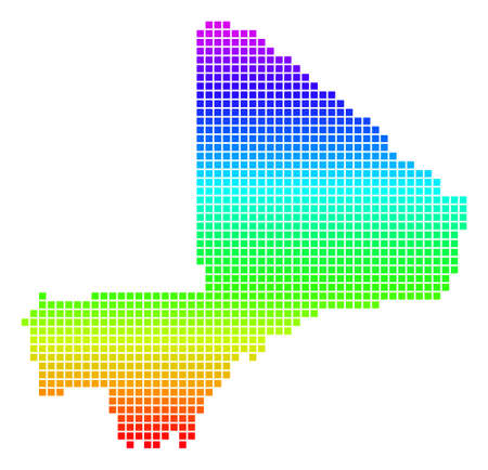 Bright Rainbow Dotted Mali Map.