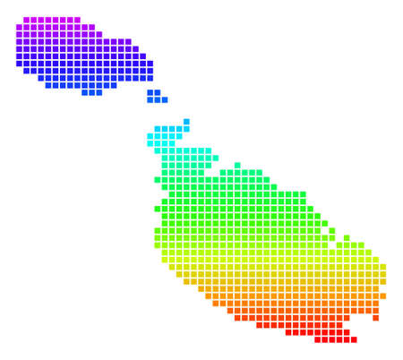 Bright Spectrum Dot Malta Island Map.