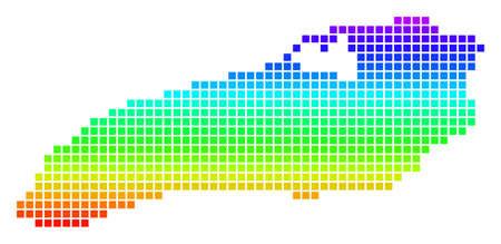 Bright Spectrum Pixel Ontario Lake Map.