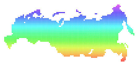 Bright Spectral Dotted Russia Map.