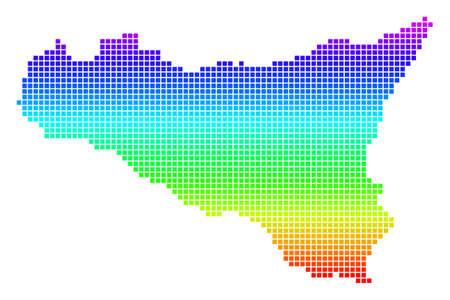 Bright Spectrum Pixel Sicilia Map.