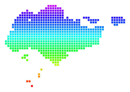 Colored Spectral Dot Singapore Map. Çizim